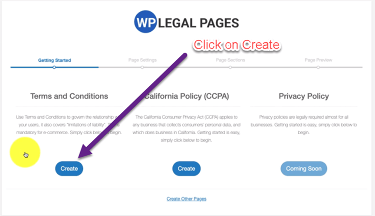 click on create terms and condition page for your website