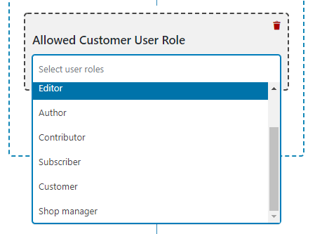 select allowed customer user role