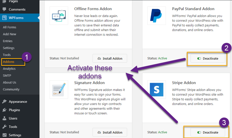 Activate paypal and stripe addons