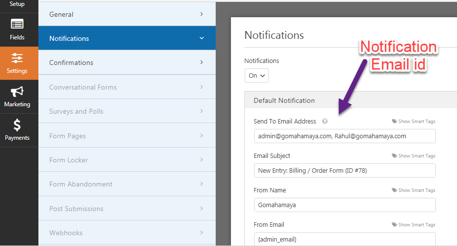 Change email notification Send To Email Address in wpforms