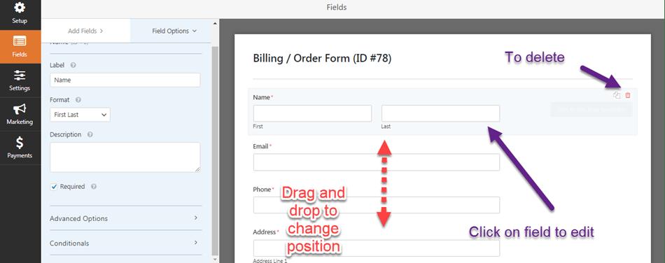 Create a WordPress Order Form editing