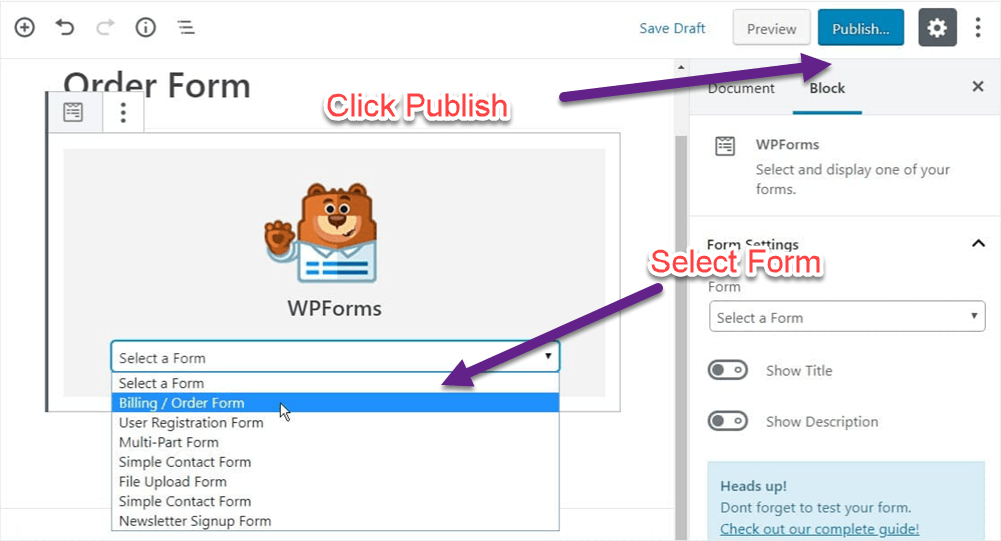 Embed Wpforms in WordPress
