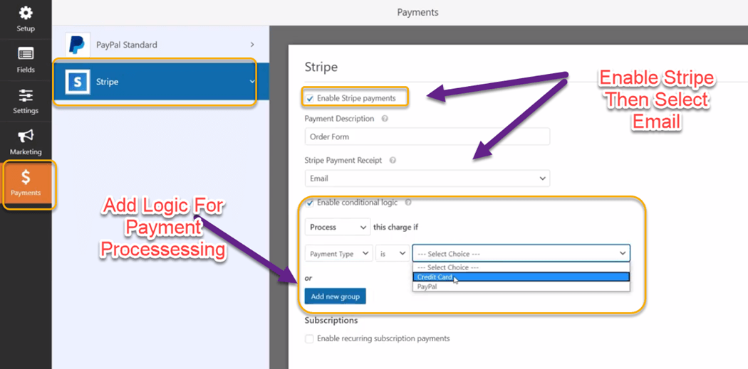 Enable Stripe setting on wpfrom payment
