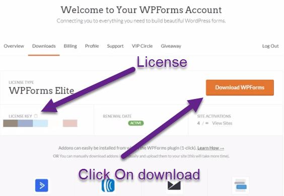 Wpform download plugin and license key
