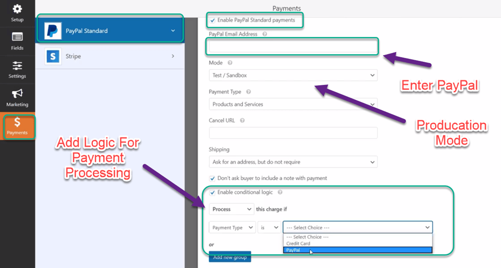 Wpfroms Paypal payment setting