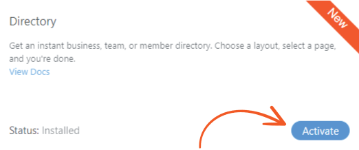 activate directory addon