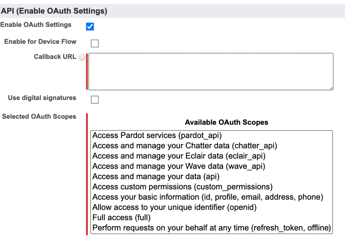 Salesforce API enable oauth settings