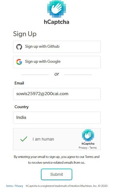 hCaptcha signup page