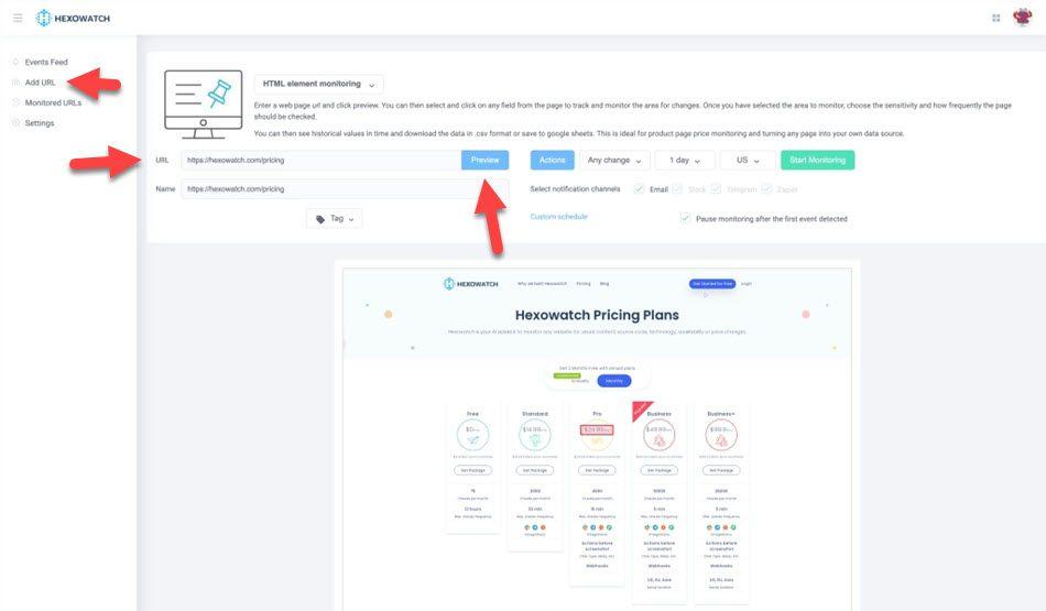 hexowatch HTML elements monitoring
