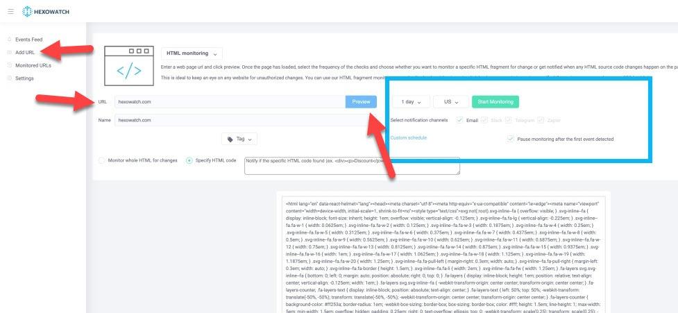 Hexowatch HTML monitoring