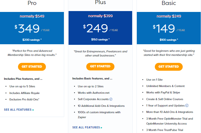 memberpress pricing plans