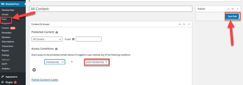 memberpress rules access conditions settings