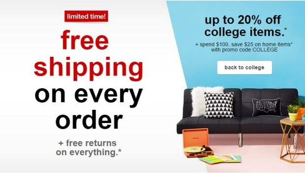 target free shipping offers