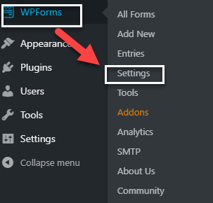 wpforms WordPress dashboard setting