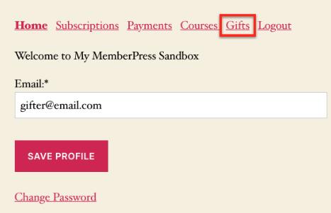 memberpress accounts gift tab