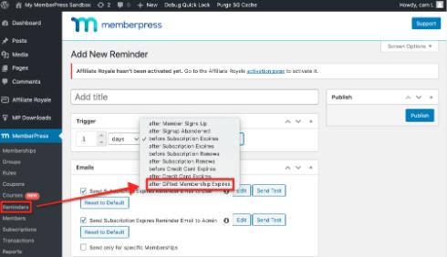 memberpress memberships reminders settings