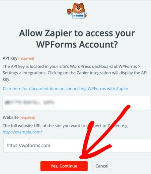 Allow Zapier to access your WPForms Account