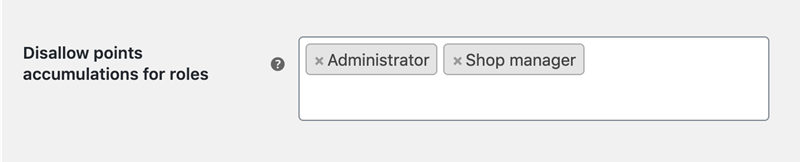Disallow points accumalations for roles limit user roles