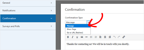 Form Confirmation Message Show Page Go to URL
