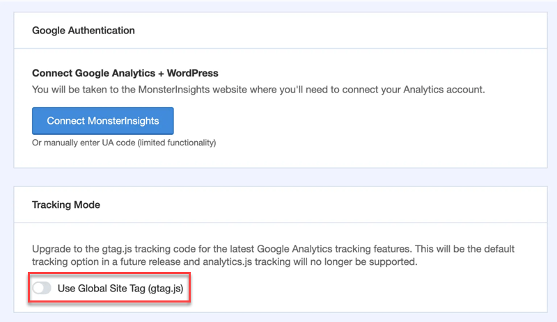 Google authenitication Tracking Mode Use Global Site Tag (gtag.js) (1)