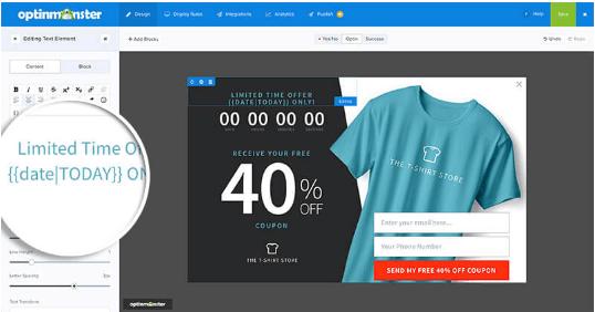 OptinMonster design dashboard Smart Tags default value