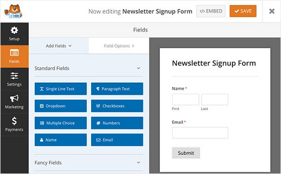 WPForms Newsletter Signup Form Add Fields