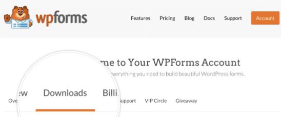 WPForms dashboard downloads tab