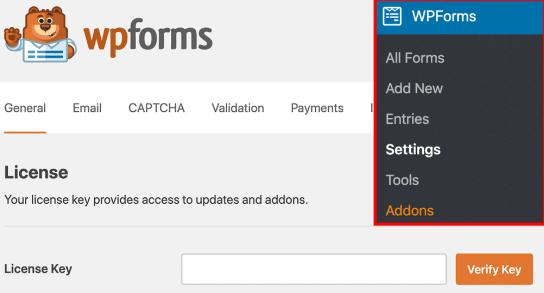 WPForms settings addons paste license key