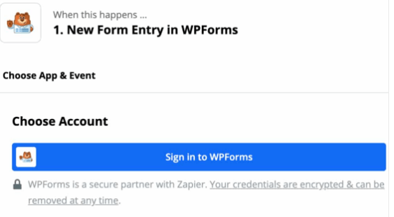 Zapier Choose Apps & Events