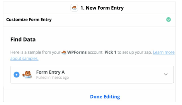 Zapier new form entry find data done editing