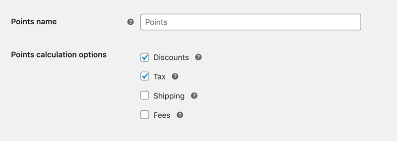 points name and Points calculation option