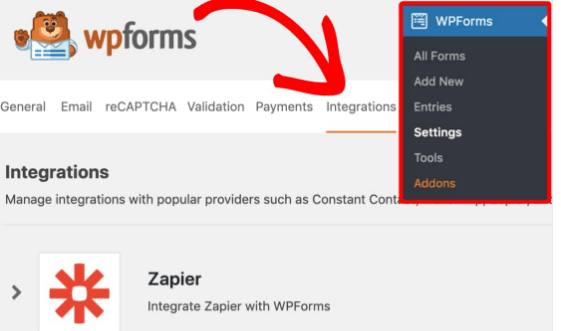 wpforms dashboard integrations settings addons