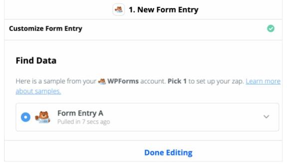 zapier new form entry find data