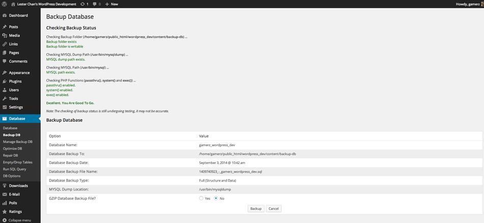 Admin Backup database