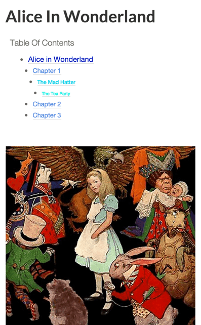 Alice In Wonderland Table Of Content Preview