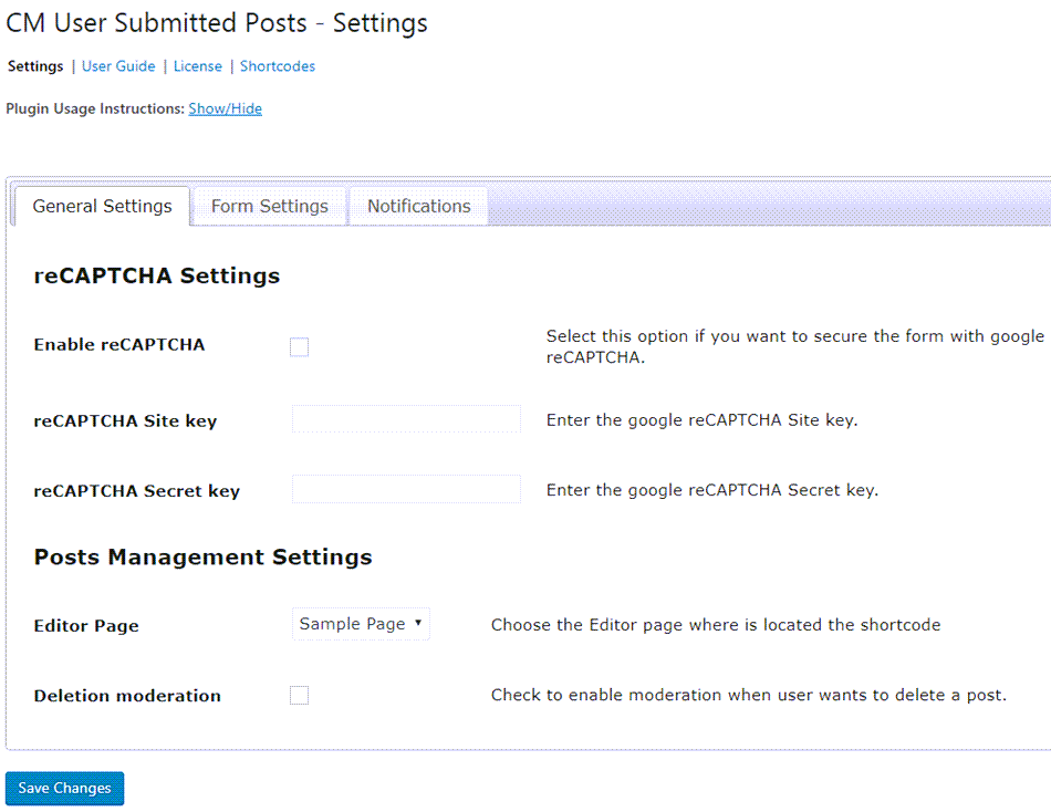 CM User Submitted Post General Setting