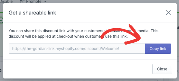 Copy Shareable Link for Coupon Popup