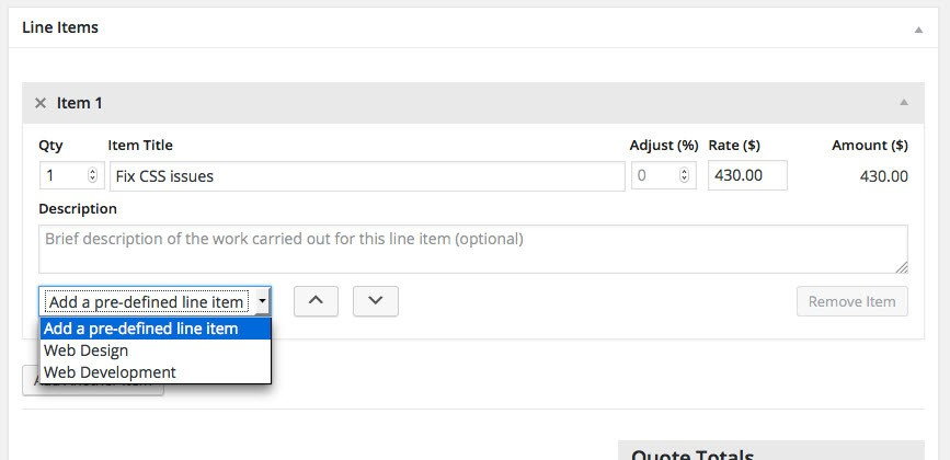 Create Invoice With Pre-defined Line IItem