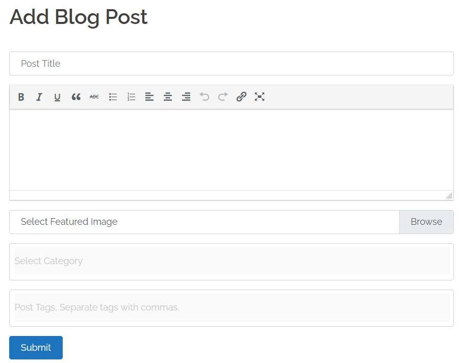 Easy to add front end blog post submission form