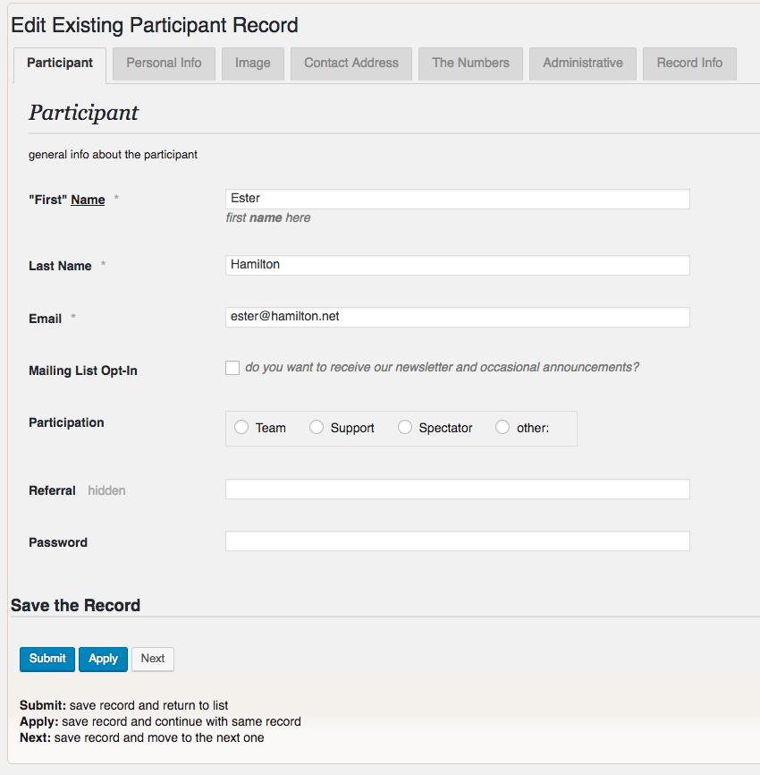 Edit Existing Participant Record