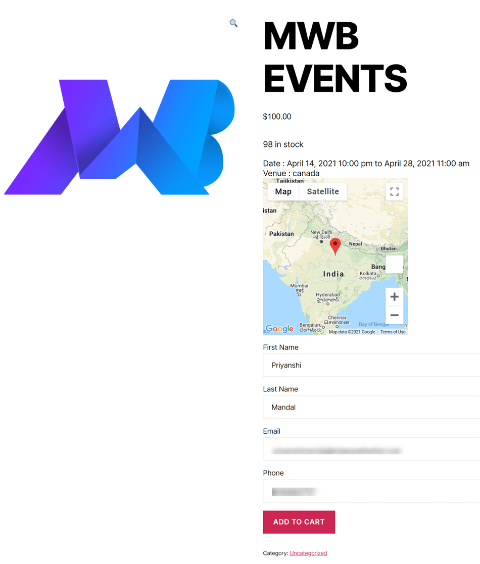 Event Details And Add To Cart Demo