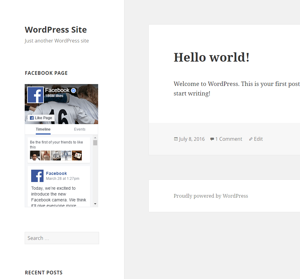 Facebook Page Feed Installation Example