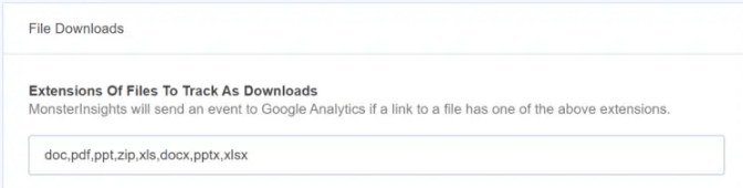 File downloads extensions of files to track as downloads