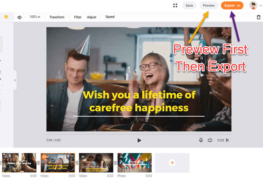 Flexclip export video or preview