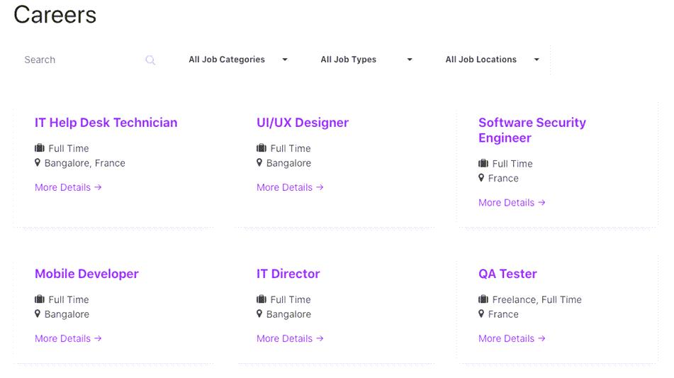 Job Listing Grid View Demo