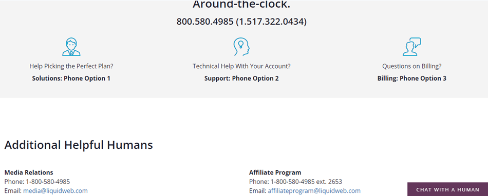 Liquid Web support email and phone number