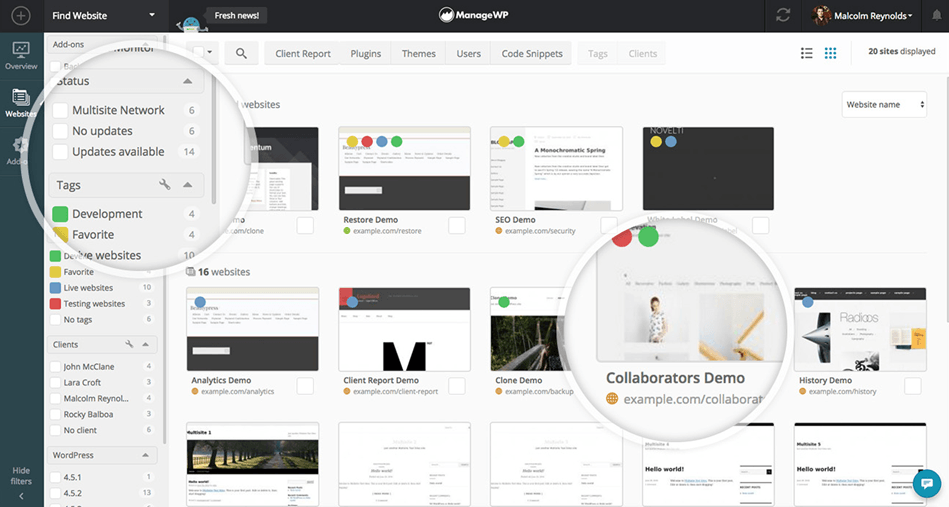 ManageWP dashboard With A Thumbnail View of 20 Websites