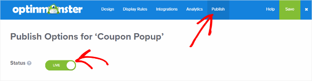OptinMonster Publish your Coupon popup