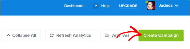 OptinMonster dashboard create campaign