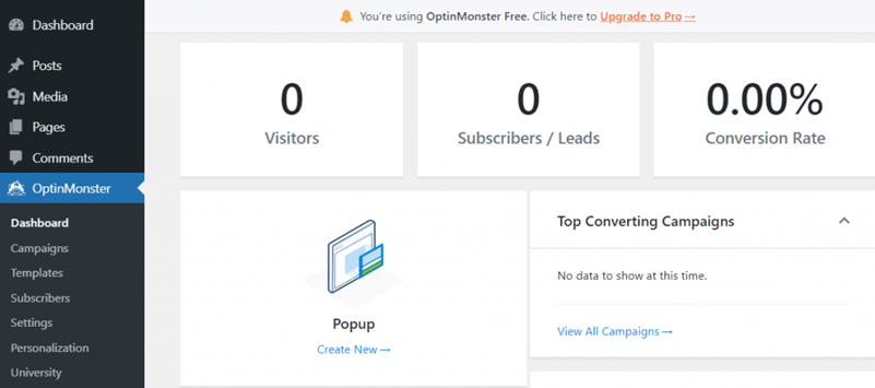 OptinMonster dashboard create new popup